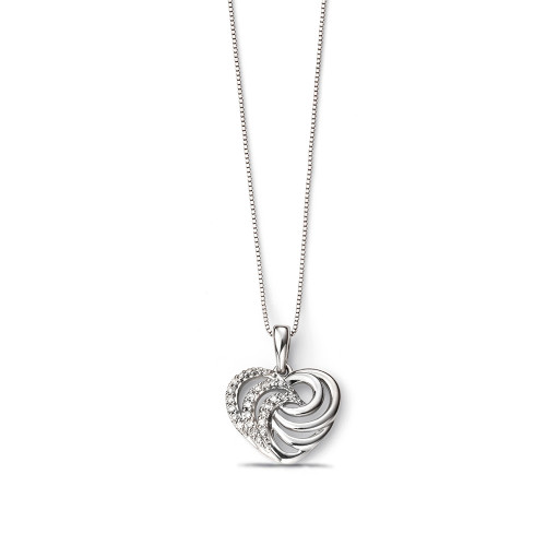 Designer Heart Swirl Diamond Necklaces in Gold and Platinum (16mm X 12mm)