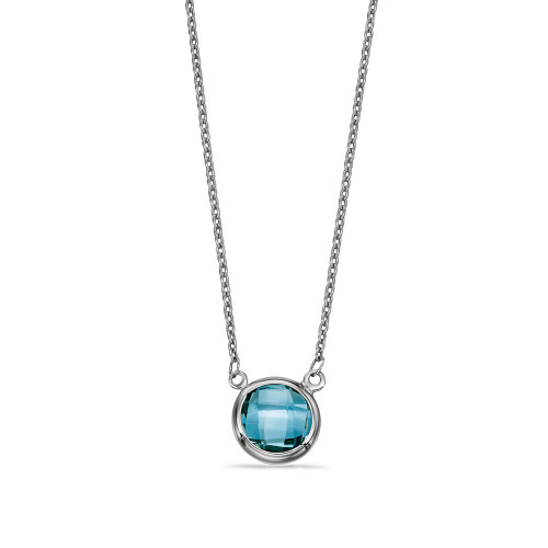 Blue Topaz Solitaire Pendant Necklace in White Gold, Yellow Gold and Platinum (8.5mm)