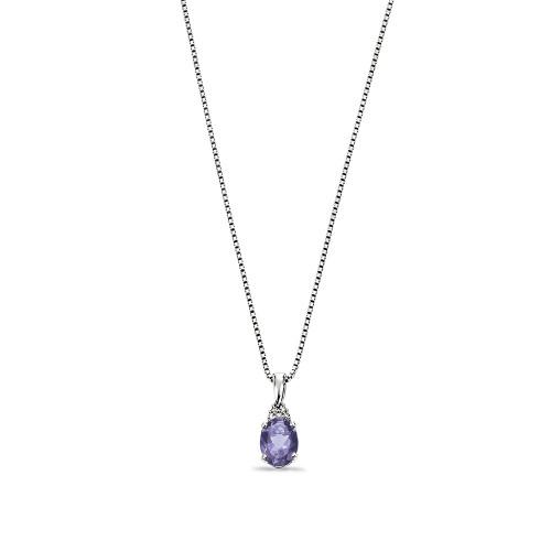 Platinum or Gold Diamond and Iolite Gemstone Pendant (16.5mm X 6mm)