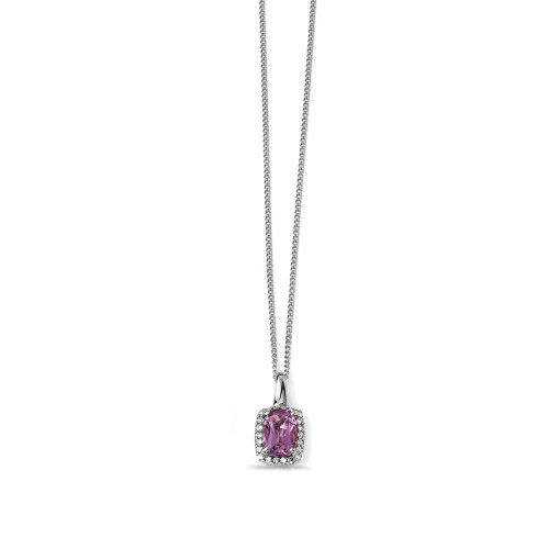 Amethyst Shape Cushion and Diamond Necklaces (15 mm X 7.5 mm)