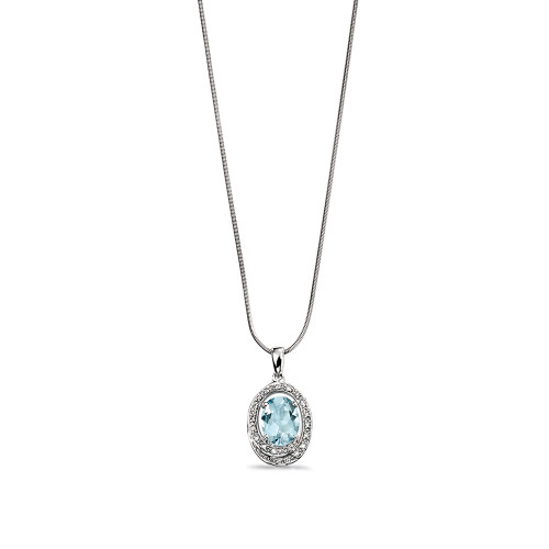 Aquamarine Centre Gemstone and Diamond Halo Pendant (18mm X 10mm)
