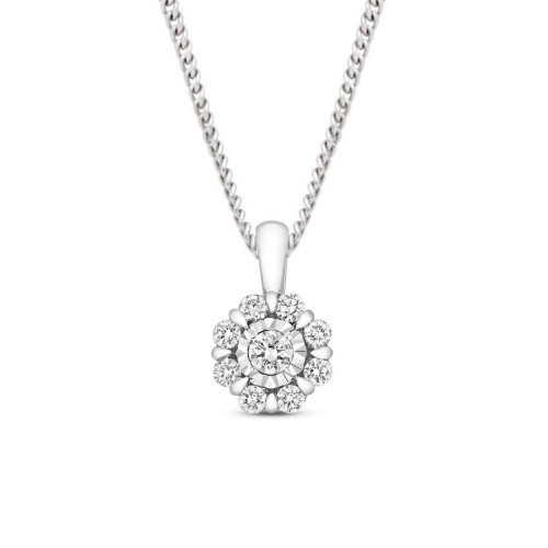 0.33 Carat Cluster Solitaire Diamond Pendant Necklace for Women