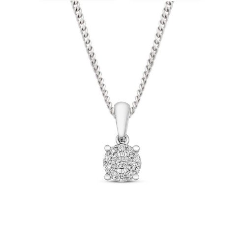0.06 Carat Cluster Solitaire Diamond Pendant Necklace for Women