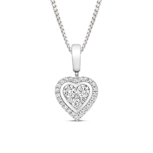 0.25 Carat Heart Shape Cluster Solitaire Diamond Pendant Necklace for Women