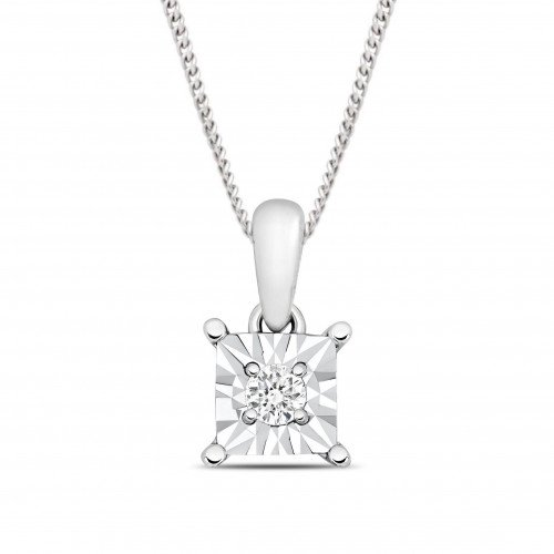 Look A Like Illusion Set Princess Cut Solitaire Diamond Pendant Necklace for Women