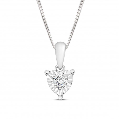 1/2 Look A Like Illusion Set Heart Shape Cluster Solitaire Diamond Pendant Necklace