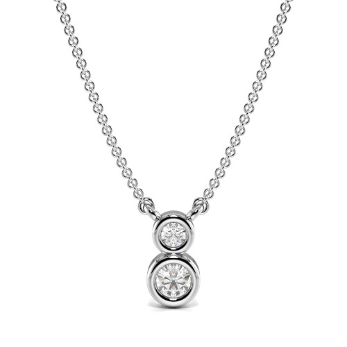 Bezel Setting Round 2 Stone Diamond Journey Pendant(6.4mm X 3.6mm)