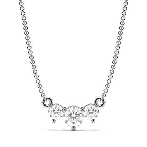 4 Prong Round Diamond Trilogy Diamond Necklace(3.7mm X 8.8mm)