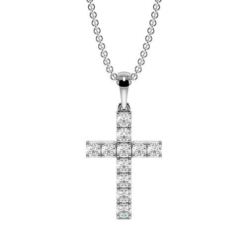 4 Prong Round Elegant Diamond Cross Necklace for Women(17.5mm X 9.0mm)