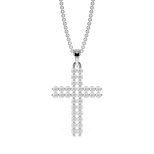 2 Prong Round Two Raw Diamond Platinum & Gold Cross Necklace(15.5mm X 10.6mm)