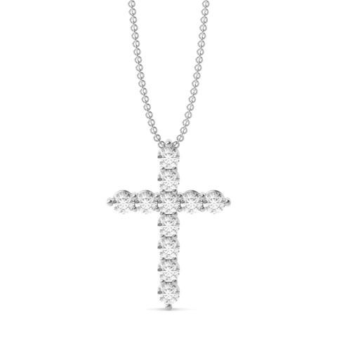 4 Prong Round Classis Popular Diamond Cross Pendant(14.8mm X 10.8mm)