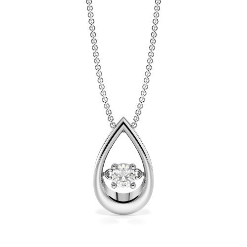 4 Prong Round Dancing Pendant Diamond Solitaire Pendant(11.8mm X 7.2mm)