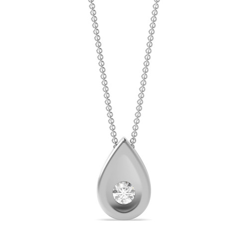 Bezel Setting Round Diamond Solitaire Pendant for Women(6.9mm X 5.4mm)