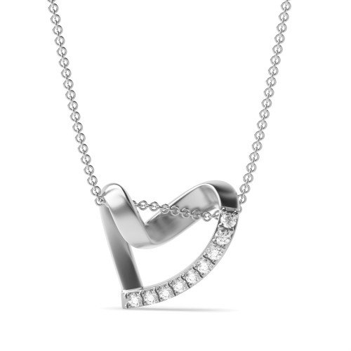 4 Prong Round Love Diamond Heart Pendants Necklace(15.0mm X 14.0mm)