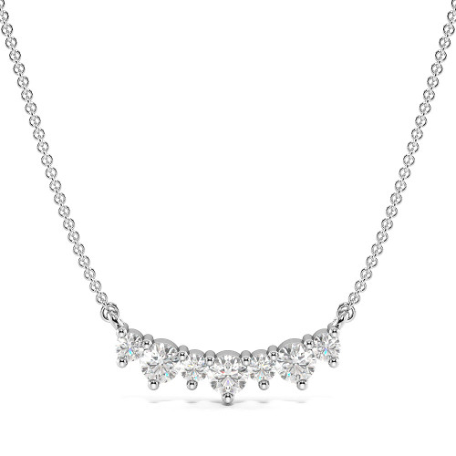 4 Prong Round Journey Necklace Diamond Necklace(2.5mm X 11.6mm)