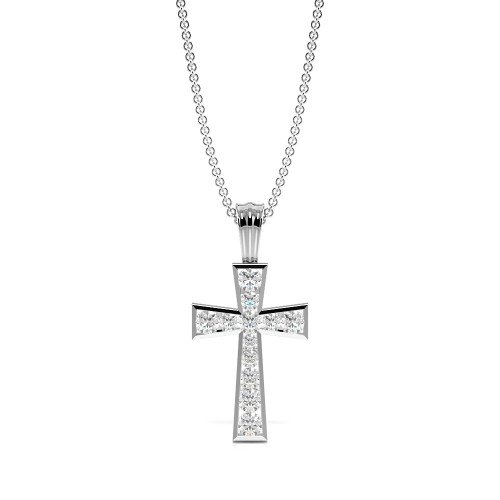 Channel Setting Round Shape Elegant Diamond Cross Necklace  (19.10mm X 9.30mm)