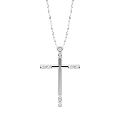 Pave Setting Round Diamond Modern & Stylish Cross Necklace  (25.00mm X 16.80mm)