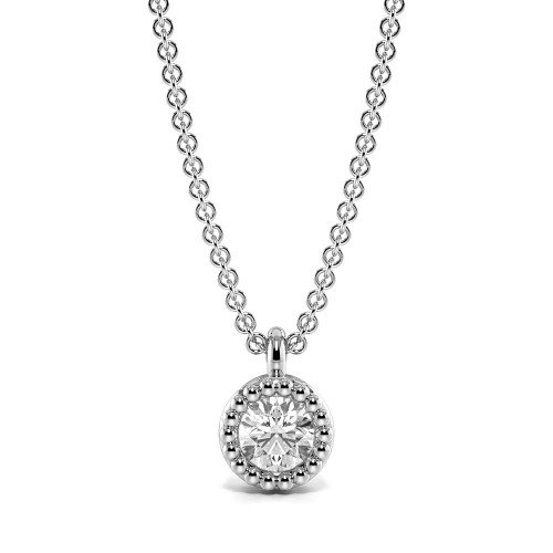 Bezel Setting Round Diamond Vintage Style Solitaire Pendant Necklace