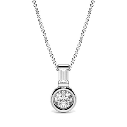 Bezel Setting Round Diamond Unique Baguette Bale Solitaire Pendants