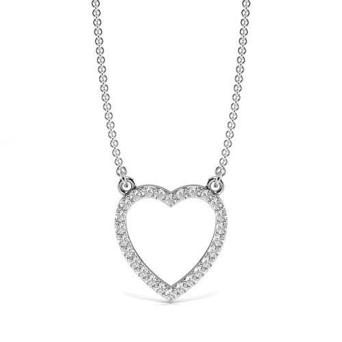 Pave Setting Open Heart Diamond Heart Necklace & Pendant (10.90mm X 9.90mm)