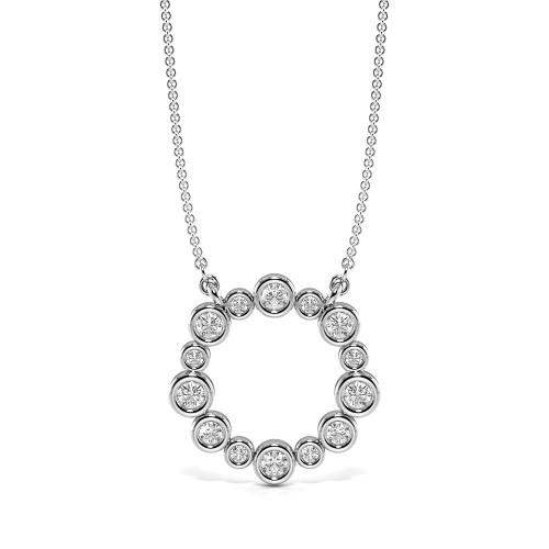 Bezel Set Beautiful Diamond Circle Pendant Necklace (15.20mm X 15.40mm)
