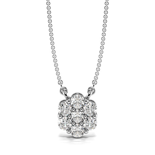 4 Prongs Set Diamond Cluster Pendant with Chain (8.50mm X 7.30mm)
