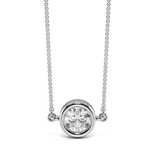 Bezel Set Necklace Single diamond solitaire necklace (7.00mm X 10.40mm)