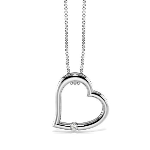 Channel Setting Diamond Heart Pendants in Gold & Platinum (13.80mm X 13.20mm)