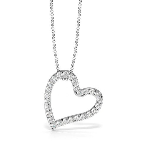 Pave Setting Stylish Heart Diamond Statement Necklaces (14.00mm X 14.00mm)