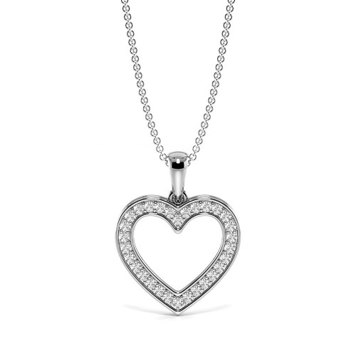 Pave Setting Round Diamond Dangling Diamond Heart Necklace  (12.50mm X 12.50mm)