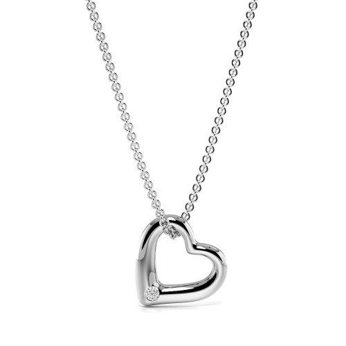 Flush Settings Round Diamond Minimal Single Diamond Heart Necklace  (6.00mm X 6.20mm)