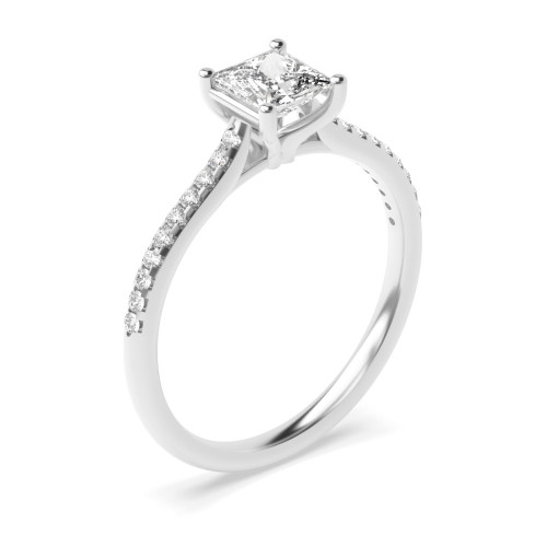 Prong Setting Princess & Round Shoulder Set Accented Side Diamond Engagement Ring