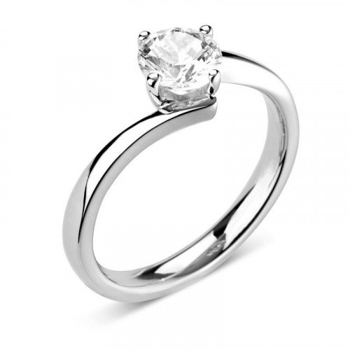 Prong Set Round Solitaire Diamond Engagement Rings In White Gold / Platinum