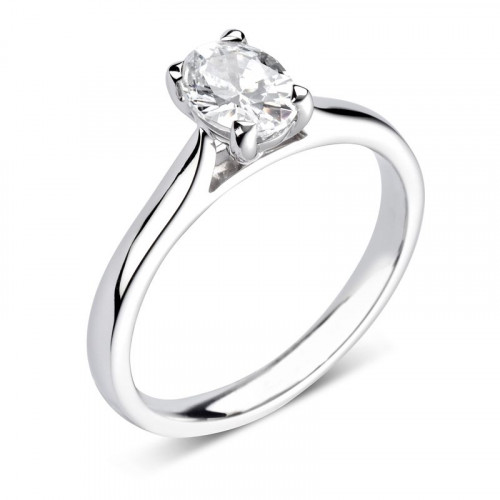 Prong Setting Oval Diamond Solitaire Engagement Ring