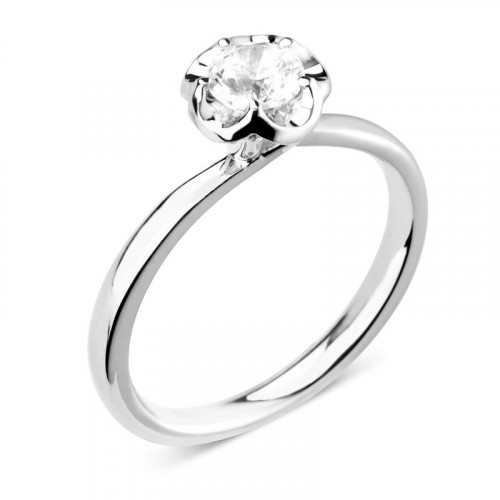 6 Prong Set Round Cut Solitaire Diamond Engagement Rings White Gold / Platinum