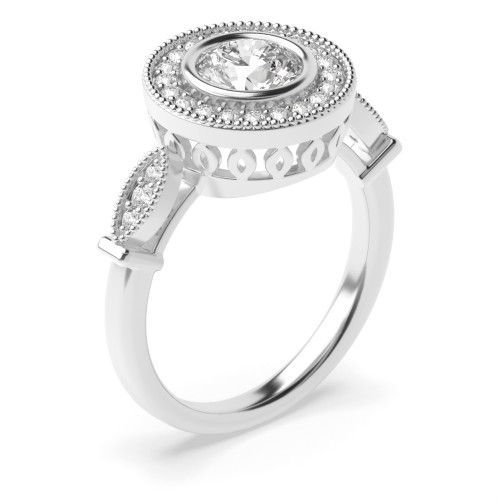 Prong Setting Round Shape Vintage Halo Diamond Engagement Rings in Gold & Platinum