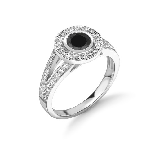 Two Raw Split Shoulder Black Diamond Halo Engagement Rings