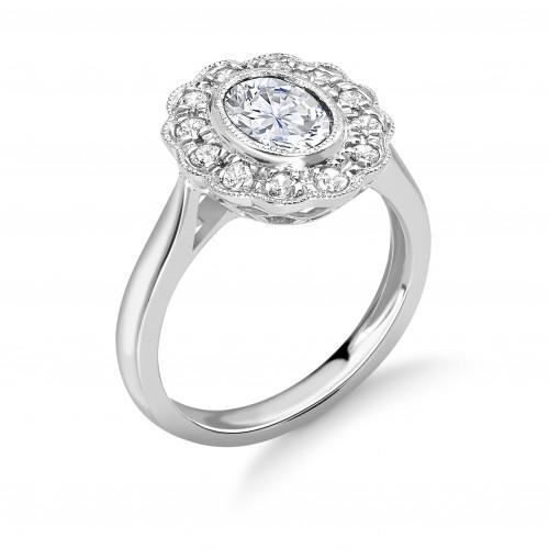 Bezel Setting Oval Shape Miligrain Halo Diamond Engagement Rings