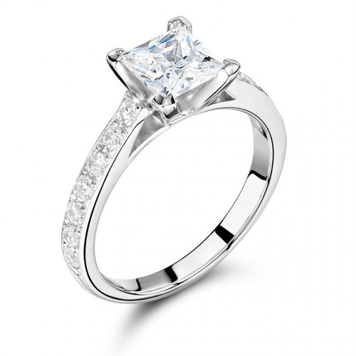 Princess Cut Side Stone On Shoulder Set Accented Diamond Engagement Ring Uk