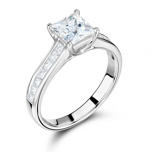 Princess Cut Engagement Ring Uk With Side Stone On Shoulder Set Accented