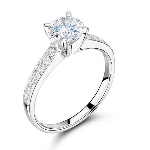 Side Stone On Shoulder Set Accented Diamond Engagement Ring White Gold / Platinum