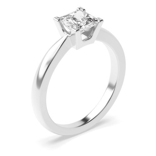 4 Claw Round Solitaire Diamond Platinum Engagement Ring for Women