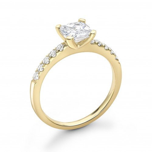 Princess Diamond 4 Claw Side Diamond Engagement Ring