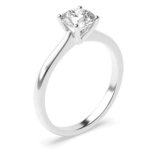 Round Solitaire Diamond Engagement Rings Rose / White Gold & Platinum