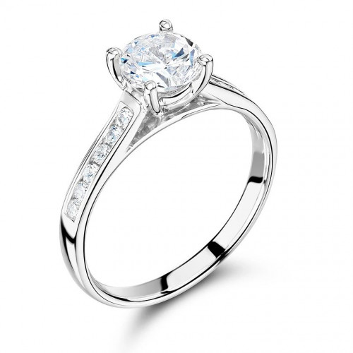 Round Cut Side Stone On Shoulder Set Diamond Engagement Ring White Gold
