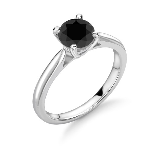 Classci Design 4 Prong Setting Round Solitaire Black Diamond Ring