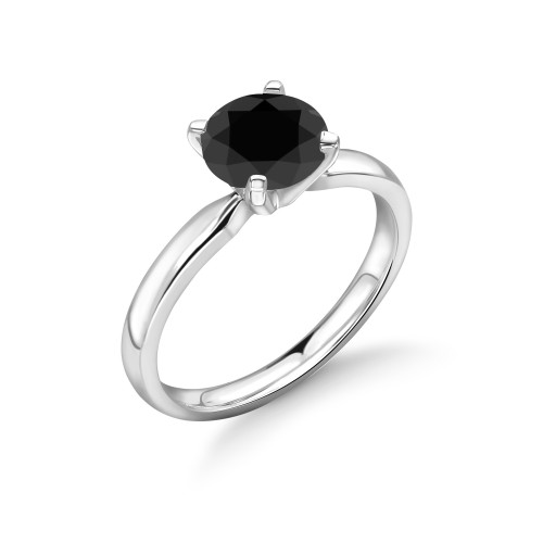 Black Diamond Ring Platinum UK Brilliant Cut Diamond 4 Prongs
