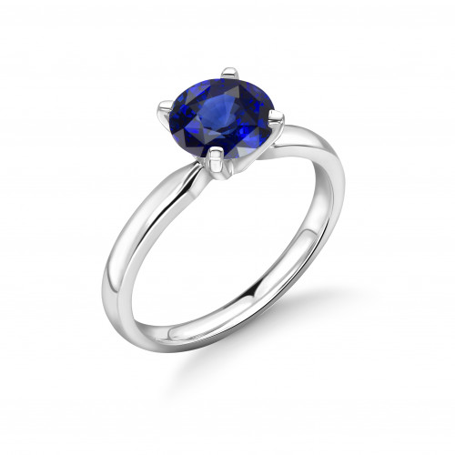 Sapphire Engagement Ring Platinum UK Brilliant Cut Diamond 4 Prongs