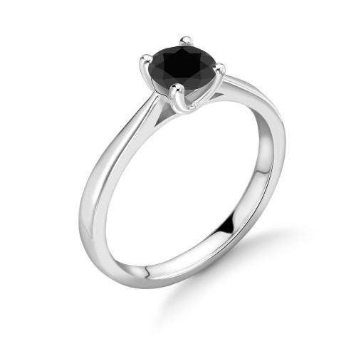 4 Claw Set Round Shape Black Diamond Ring For Mens and Womens