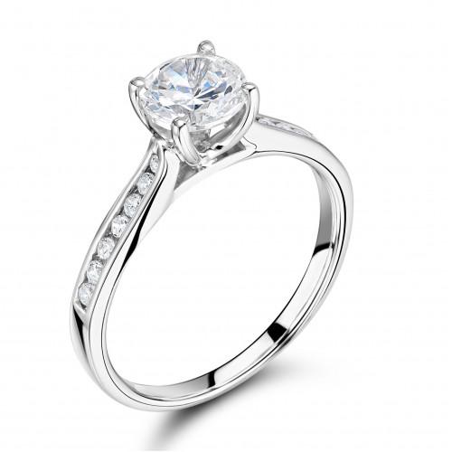 Side Stone Round Diamond Engagement Ring Shoulder Set White Gold / Platinum